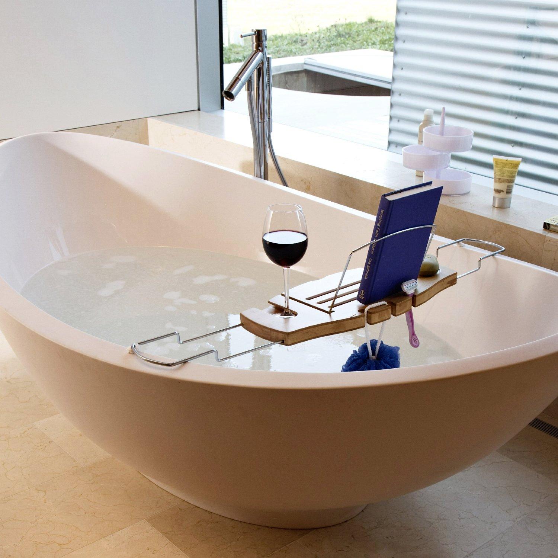Столик для отдыха в ванной с подставкой для чтения книг и местом под бокал и кружку