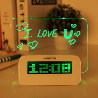 Часы - светящийся LED будильник с доской для записей